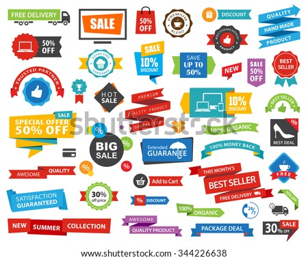 Vector file representing a Tag Label Sticker Banner Ribbons collection set.