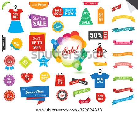 Vector file representing Sale Label Tag Sticker Banner Ribbon collection set.