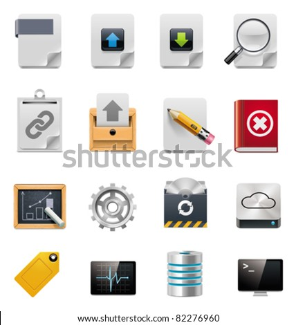 Vector file server administration icon set - stock vector