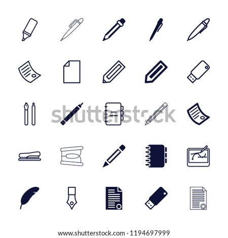 Vector  filled and outline icons such as usb drive, document, notebook, paper, highlighter, stapler. editable pen icons for web and mobile.