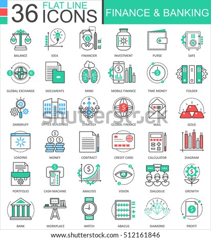 Vector Finance and banking modern color flat line outline icons for apps and web design