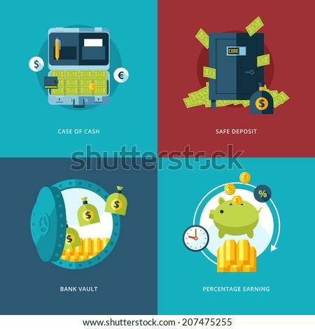 Vector finance and money icons set. Illustration for case of cash, safe deposit, bank vault and percentage earning.