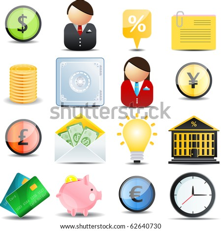 Vector Finance  color web set  of 16 icons - stock vector