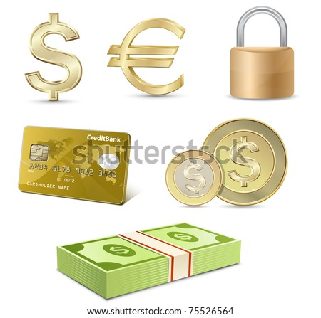Vector finance icon set. Dollar and Euro signs, Credit card, coins, banknotes, padlock.