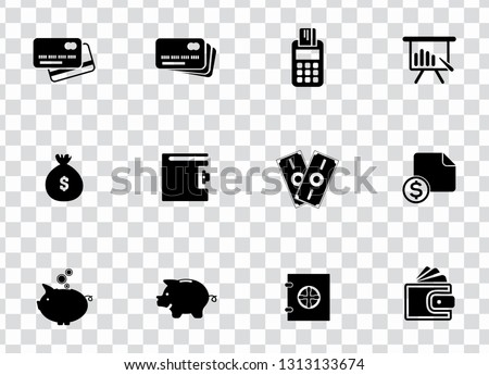 vector financial icons set - money, piggy bank finance sign symbols. investment icons