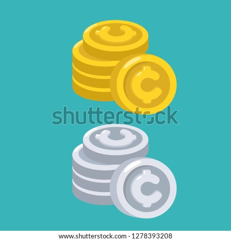 Vector financial money icon set. Coins with the cent symbol are gold and silver. Illustration of money in flat style.