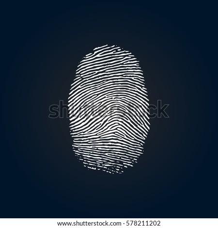 Vector Fingerprint. Identification Symbol on Dark Background.