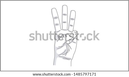 Vector fingers web icon. Linear illustration. Forefinger, middle finger and ring finger. Three fingers up. Counting. Gesture.