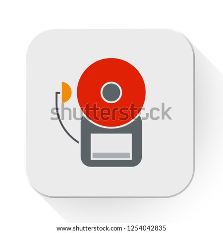 vector fire alarm icon. Flat illustration of danger alarm. emergency alarm system isolated on white background. security urgency sound sign symbol