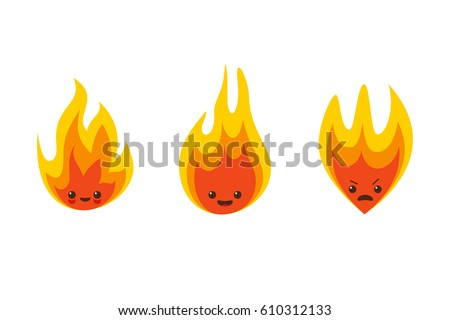vector fire flame character
