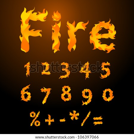 Vector fire flame font digits