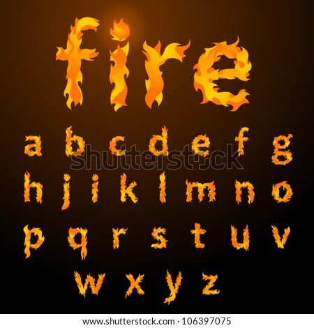 vector fire flame font small