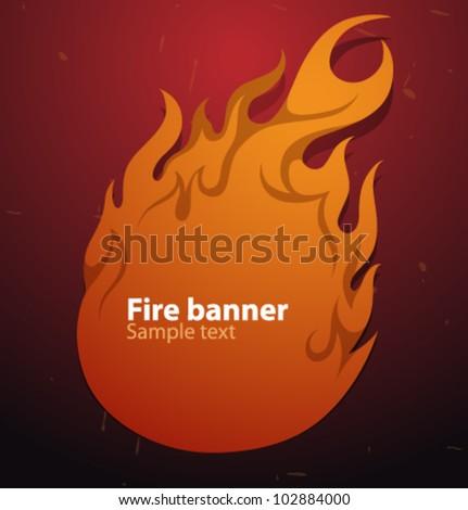 Vector fire speech banner 2