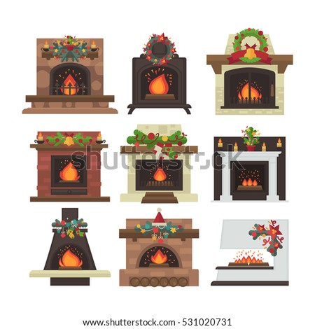 vector fireplace merry