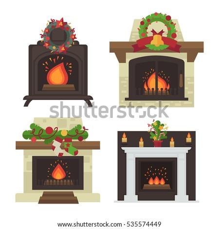 vector fireplace merry