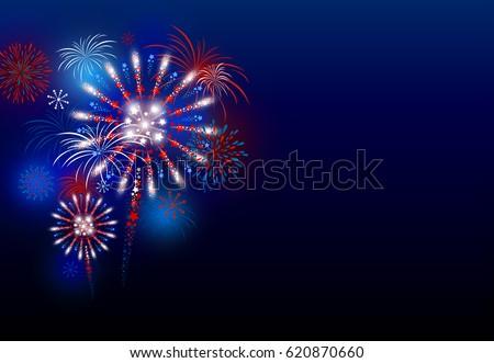 vector firework design at night