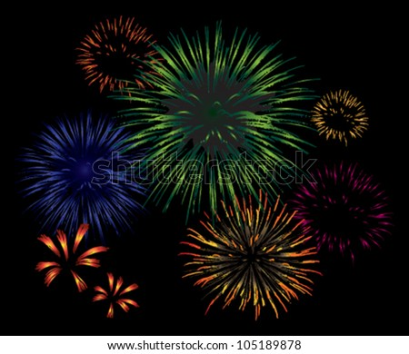 Vector fireworks exploding in the night sky. - stock vector