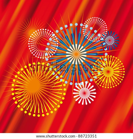 Vector Fireworks with red shine background
