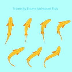 Vector Fish, Frame by Frame Animation for 2D Animation, Motion Graphics, With a water background