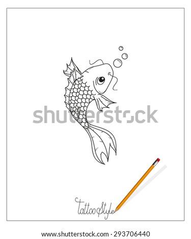 vector fish tattoo style