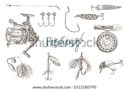 Vector Fishing Tackle isolated on white background. Retro Vintage doodle hand drawn engraving style  illustration. Scratch board imitation. Background with lettering