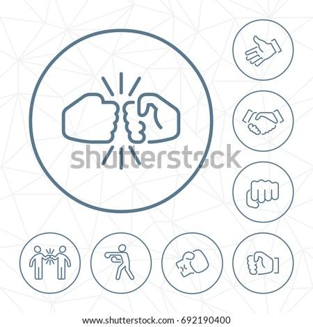 vector fist bump outline icon