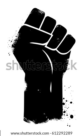 Vector fist power. Isolated background.