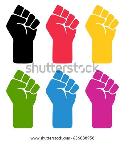Vector fist symblos. Six different colored fist illustrations.