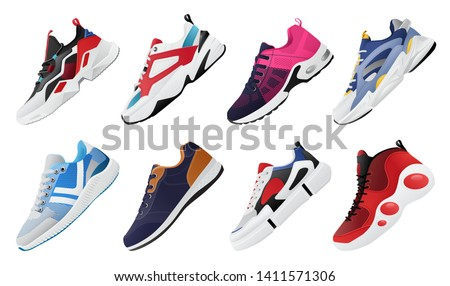 Vector fitness sneakers shoes for training, running shoe vector illustration. Sport shoes set.
