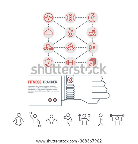 Stock Vector Vector Fitness Tracker On The Wrist Sport Illustration In Flat Linear Style With Icons Fitness on fitness tracker