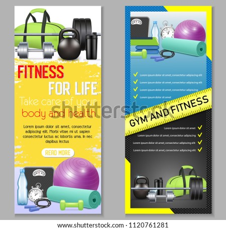 Vector fitness vertical banner set. Health and fitness, Fitness for life concept design elements, web templates.