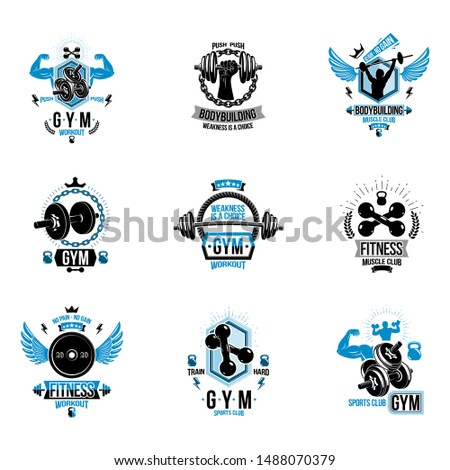 Vector fitness workout theme logotypes and inspiring posters collection created with dumbbells, barbells, disc weights sport equipment and muscular sportsman body silhouettes.