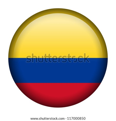 Vector flag button series - Colombia