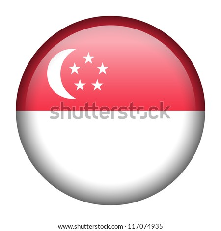 Vector flag button series - Singapore