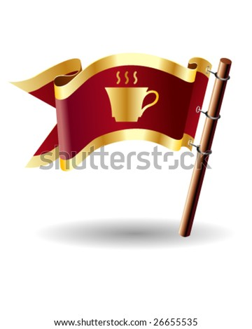 Vector flag button with coffee or tea cup icon