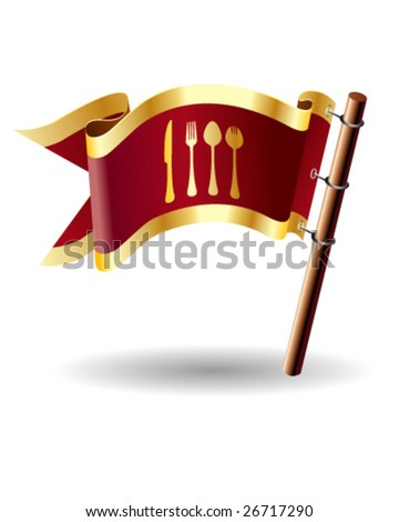 Vector flag button with dining icon on red and gold background - stock vector