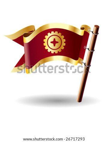Vector flag button with gear icon on red and gold background