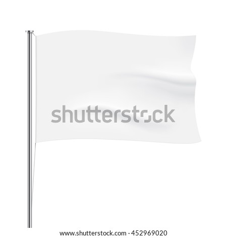 Vector flag isolated. White horizontal flag template. Realistic flag mockup.