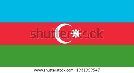 Vector flag of Azerbaijan. Accurate dimensions and official colors. Symbol of patriotism and freedom. This file is suitable for digital editing and printing of any size.