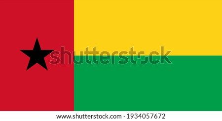 Vector flag of Guinea-Bissau. Accurate dimensions and official colors. Symbol of patriotism and freedom. This file is suitable for digital editing and printing of any size. Сток-фото ©