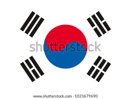 Vector flag of South Korea. Symbol of South Korea.