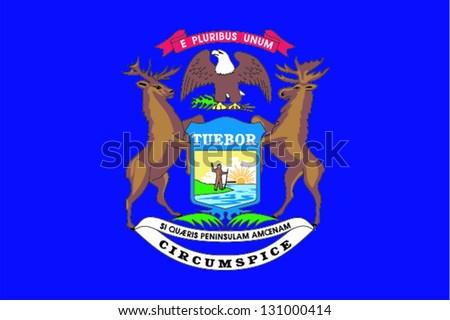 Vector flag of the United States of America State Michigan