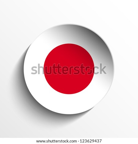 Vector - Flag Paper Circle Shadow Button Japan