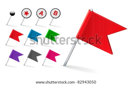 Vector Flag Pin Icon Set