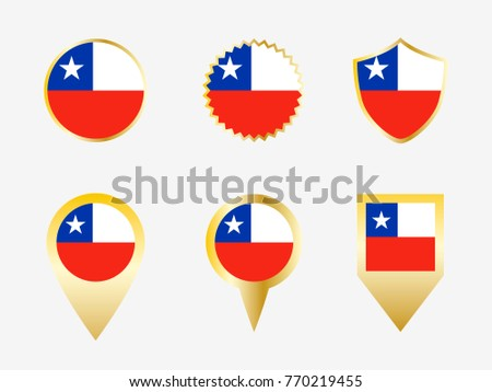 Vector flag set of Chile #770219455