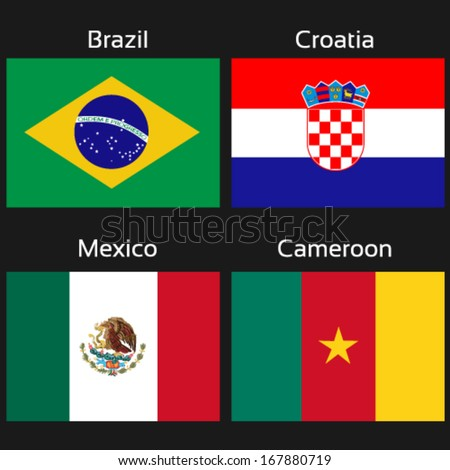 Vector flags - group A - Brazil, Croatia, Mexico, Cameroon - drawing including all details
