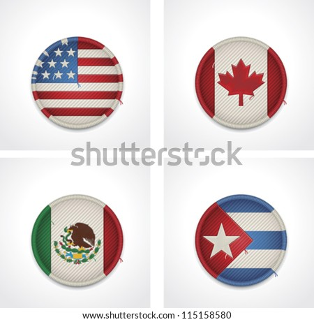 Vector flags of countries as fabric badges icon set. Includes United States of America, Canada, Mexico and Cuba flags