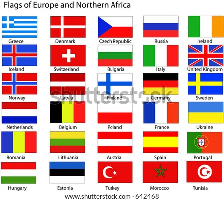 Vector flags of Europe and Northern Africa