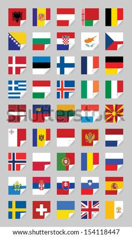 Vector flags of European States, on grey