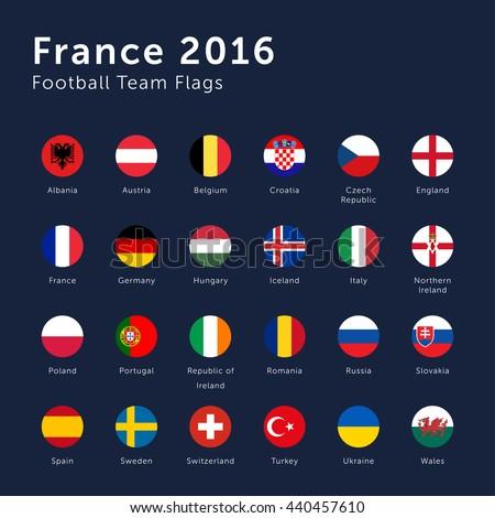 Vector Flags of France 2016 Football Championship Circle #440457610